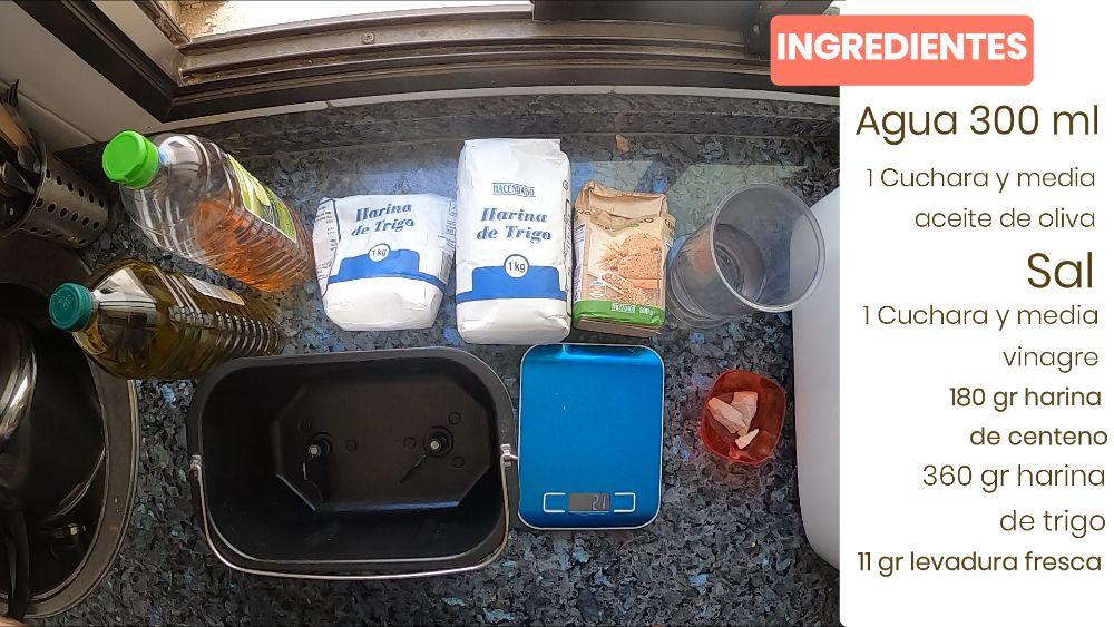 Ingredientes para hacer un pan de centeno con panificadora lidl