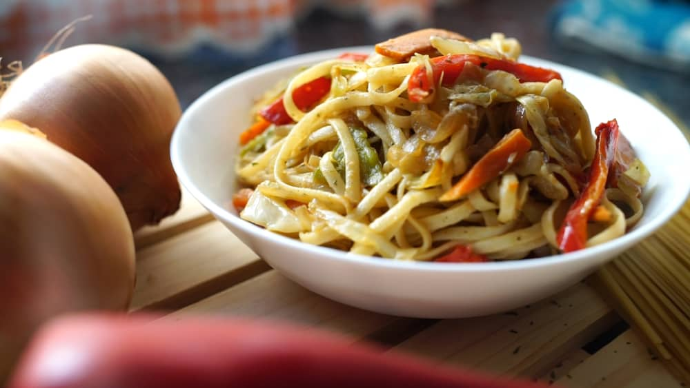 Pasta con verduras y soja